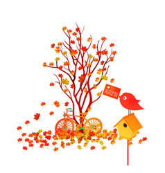 Hello autumn of a forest in autumn with leaves vector