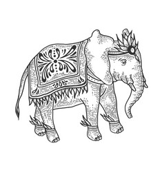 indian elephant sketch engraving vector image