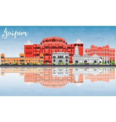 Jaipur Skyline with Color Landmarks Blue Sky vector