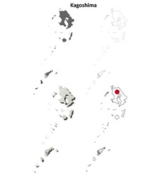 Kagoshima blank outline map set vector