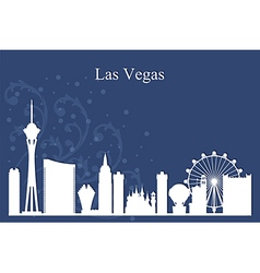Las vegas city skyline silhouette on blue vector