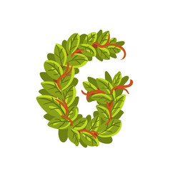 letter g english alphabet made of tree branches vector image