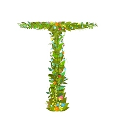 Letter T floral latin decorative character vector image