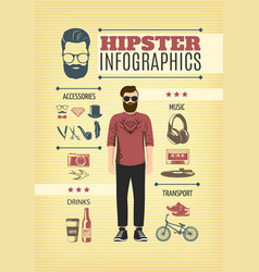 Light hipster fashion infographic template vector