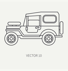 line flat hunt and camping icon off-road vector image