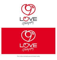 Love photography logo design minimal camera icon vector