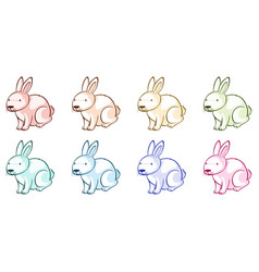 many rabbits in different colors vector image