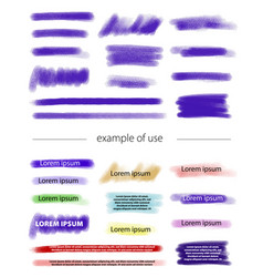 marker and brush strokes for highlighting text vector image