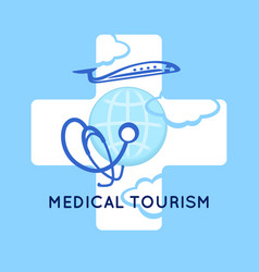 medical tourism concept symbol background medical vector image