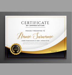 Modern golden diploma certificate template design vector
