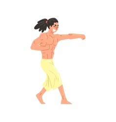 Muscly Shirtless Karate Professional Fighter vector