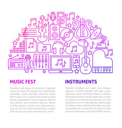 music fest line template vector image