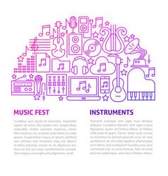 music fest line template vector image