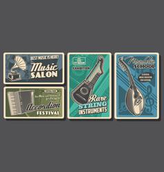 Music instruments posters retro concert festival vector