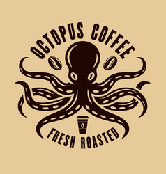 Octopus coffee logo concept in vintage style vector