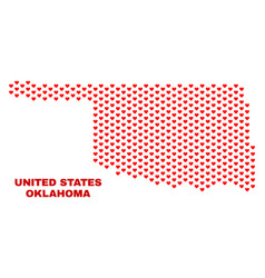 Oklahoma state map - mosaic of love hearts vector
