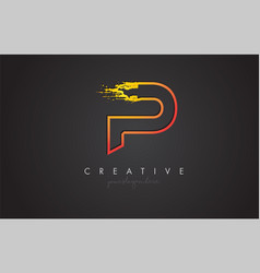p letter design with golden outline and grunge vector image