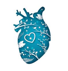 paper heart slice cartoon paper landscape vector image