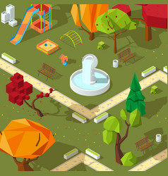 pictures isometric trees 3d low poly stylized vector image