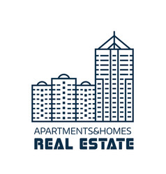 real estate agency logo in line art vector image