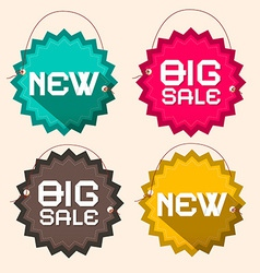 Retro Big Sale and New Title on Circle Paper vector