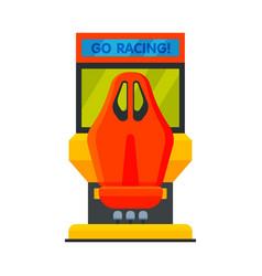 Retro racing car arcade game machine video gaming vector