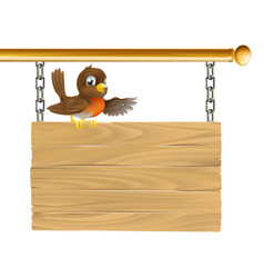 robin sitting on sign board vector image