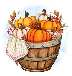 rustic wooden half barrel with pumpkins vector image