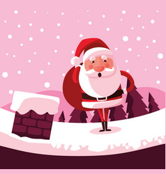 santa claus christmas with chimney vector image