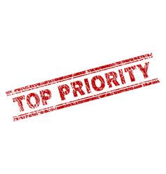 Scratched textured top priority stamp seal vector