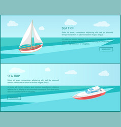 sea trip web poster modern yacht boat with canvas vector image