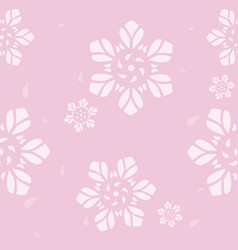Seamless geometric pattern flower on pink vector
