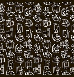 seamless pattern food and goods vector image