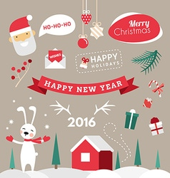 Set of Christmas and New Year Cute Design Elements vector