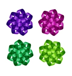 Set of purple pink green ribbon bows isolated vector