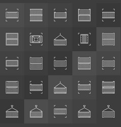 shipping container outline icons vector image