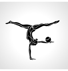 Silhouette of art rhythmic gymnastic girl with vector image