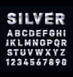 silver font 3d steel chrome alphabet metal vector image
