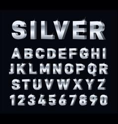 Silver font 3d steel chrome alphabet metal vector