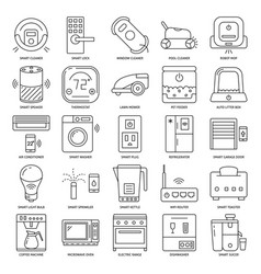 smart home appliances icon set in line style vector image