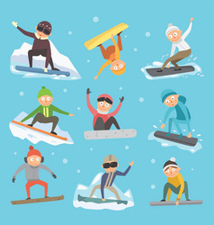 snowboarder jump in different pose vector image