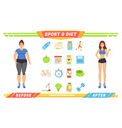 sport and diet women poster vector image