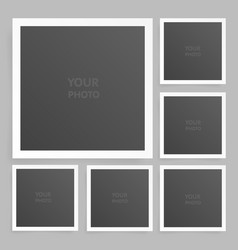 Square photo frame set mock up with shadow vector
