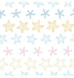 starfish colorful line art frame seamless pattern vector image