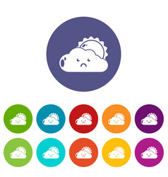 sun and cloud icons set color vector image