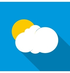 Sun behind the cloud icon flat style vector image