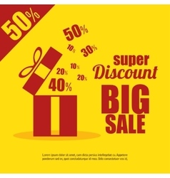 super discount big sale gift yellow background vector image