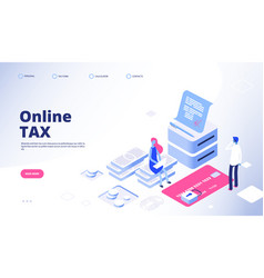 tax payment landing page online tax web vector image