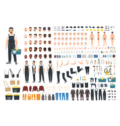 Technical worker creation kit set of flat male vector