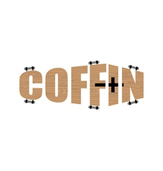 Text in form of coffin Logo emblem for the funeral vector